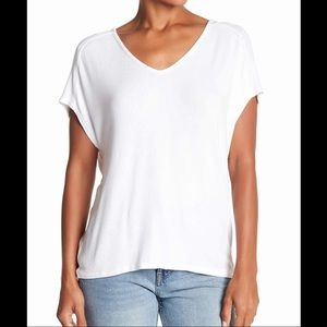 Michael Stars White Cross back Ribbed Tee OS